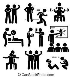 personlig, gymnastiksal, kaross, tränare