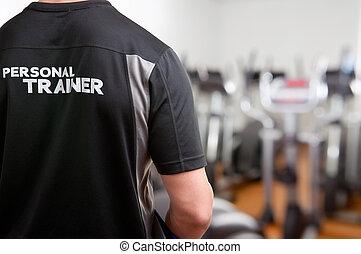 personlig tränare, hos, den, gymnastiksal