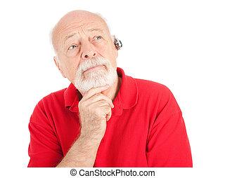personne âgée homme, écoute