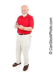 personne âgée homme, texting