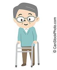 personne âgée homme, utilisation, marcheur