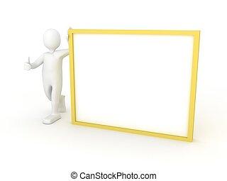 personne, 3d, affiche, vide