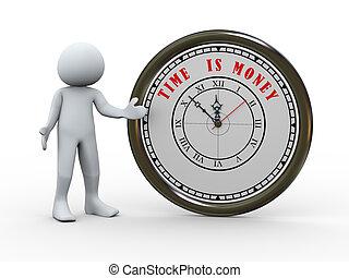 personne, 3d, horloge