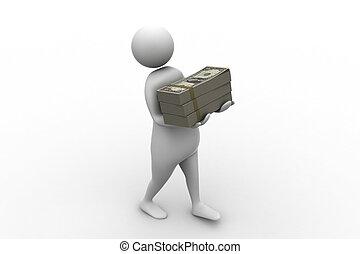 personne, 3d, tenue, paquet, argent