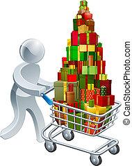 personne, achats, noël don