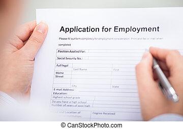 personne affaires, emploi, formulaire