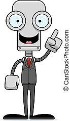 personne affaires, idée, robot, dessin animé