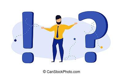 personne affaires, réponse, question, bureau, vecteur, dessin animé, choix, gens., faq., help., soutien, pensée, homme affaires, caractère, illustration, marque, frequently, fond, problème, homme, confusion, demandé, concept