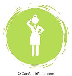 personne affaires, style, timbre, vert, femme affaires, pensif, cirlce, pensée femme, portrait
