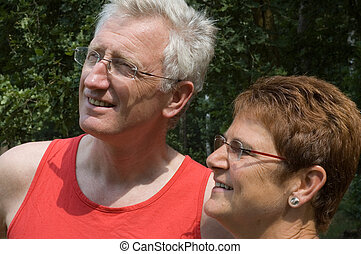 personne agee, -1, couple, heureux