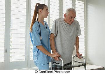 personne agee, actif, docteur féminin, marcheur, homme, promenade, portion