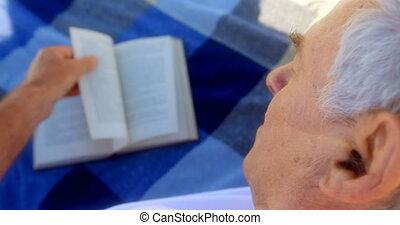 personne agee, actif, livre lecture, caucasien, homme, plage, gros plan, 4k