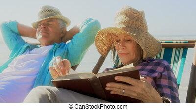 personne agee, actif, vue, livre lecture, caucasien, plage, femme, devant, 4k