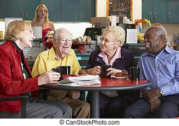 personne agee, adultes, avoir, matin, thé, ensemble