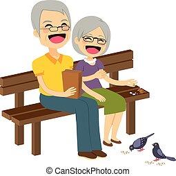 personne agee, alimentation, couple, oiseaux
