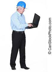 personne agee, architecte, ordinateur portable, dactylographie