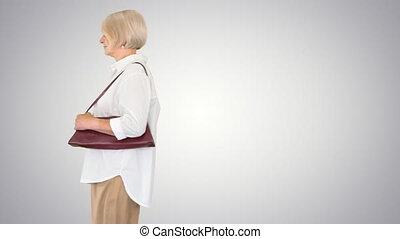 personne agee, arrière-plan., gradient, marche, femme, intelligent