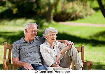 personne agee, banc, couple, séance