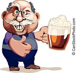 personne agee, bière, homme
