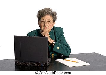 personne agee, bureau, cadre