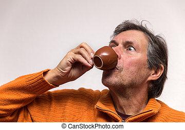personne agee, café, adulte, tasse