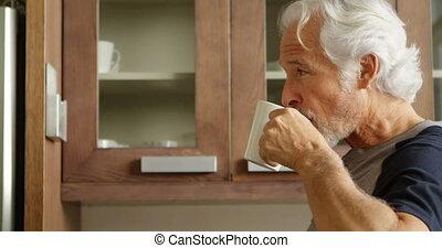 personne agee, café, avoir, cuisine, homme, 4k
