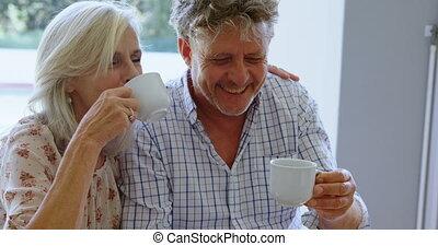 personne agee, café, couple, porche, avoir, 4k