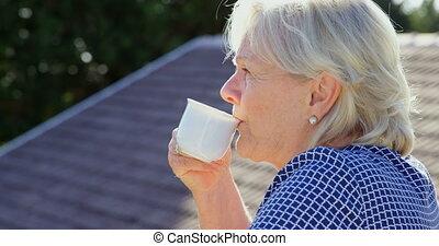 personne agee, café, terrasse, avoir, 4k, femme