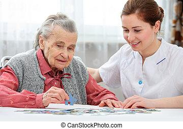 personne agee, caregiver, elle, femme
