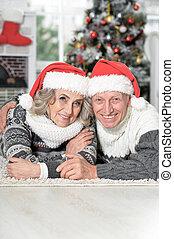 personne agee, chapeaux, mignon, portrait, heureux, santa, couple