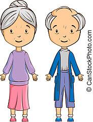 personne agee,  couple, dessin animé