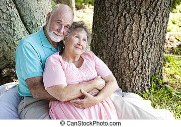 personne agee, -, couple, nostalgie