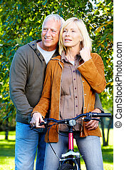 personne agee, cyclist., couple, heureux