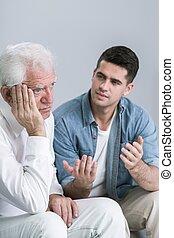 personne agee, dépression, homme