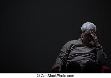 personne agee, désespéré, homme