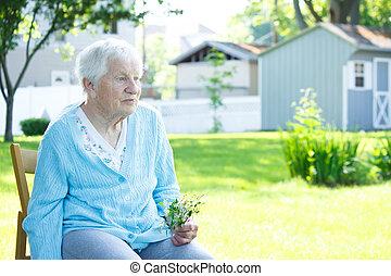 personne agee, dame, dehors, délassant