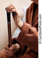 personne agee, dans, hôpital