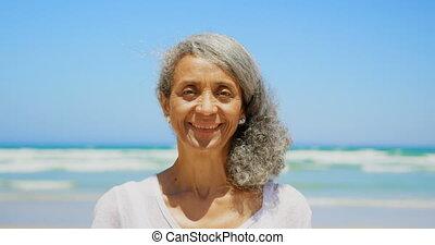 personne agee, debout, actif, africaine, soleil, vue,...