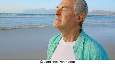 personne agee, debout, côté, actif, vue, caucasien, homme, plage a fermé, yeux, 4k