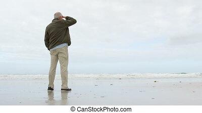 personne agee, debout, vue, arrière, caucasien, vieil homme...