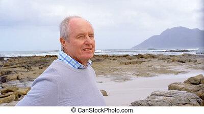personne agee, debout, vue, caucasien, vieil homme, plage,...