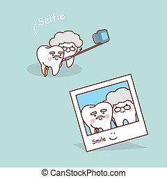 personne agee, dents, selfie, dessin animé