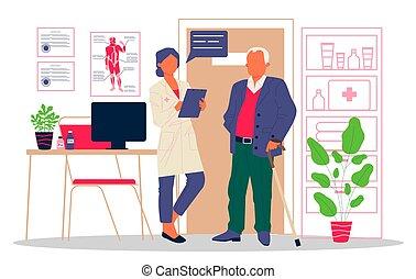 personne agee, docteur, patient, visiter, bureau