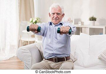 personne agee, dumbbells, exercisme, homme