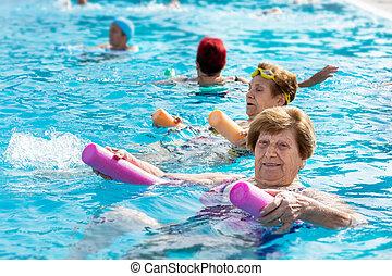 personne agee, eau, gymnase, femme, session.