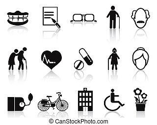 personne agee, ensemble, personnes agées, icônes
