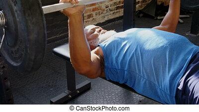 personne agee, exercisme, homme, 4k, barre disques