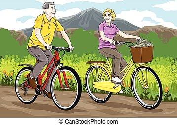 personne agee, faire vélo, gens