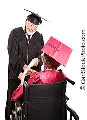 personne agee, fauteuil roulant, diplômé