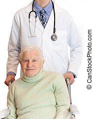 personne agee, fauteuil roulant, docteur